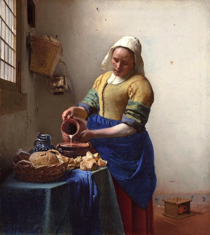 "Vermeer: ""La lechera"" c. 1660. Óleo sobre lienzo, 45 X 41. Rijksmuseum, Amsterdam."