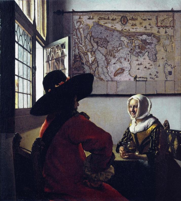 """Vermeer: """"Militar y muchacha riendo"""", c. 1657. Óleo sobre lienzo, 50 X 46. Frick Collection, N, Y."""