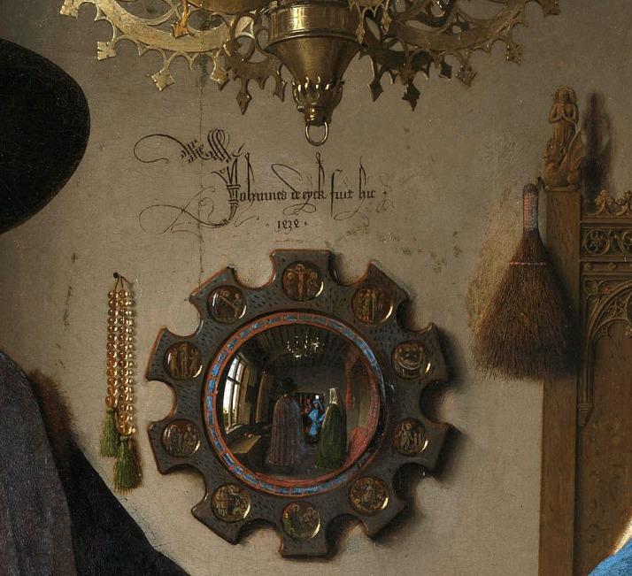 """Jan van Eyck:""""Retrato de Giovanni Arnolfini y su esposa"""", detalle del espejo."""