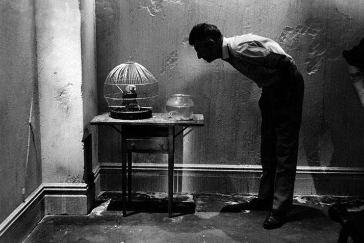 samuel Beckett  revisando parte del decorado de la película
