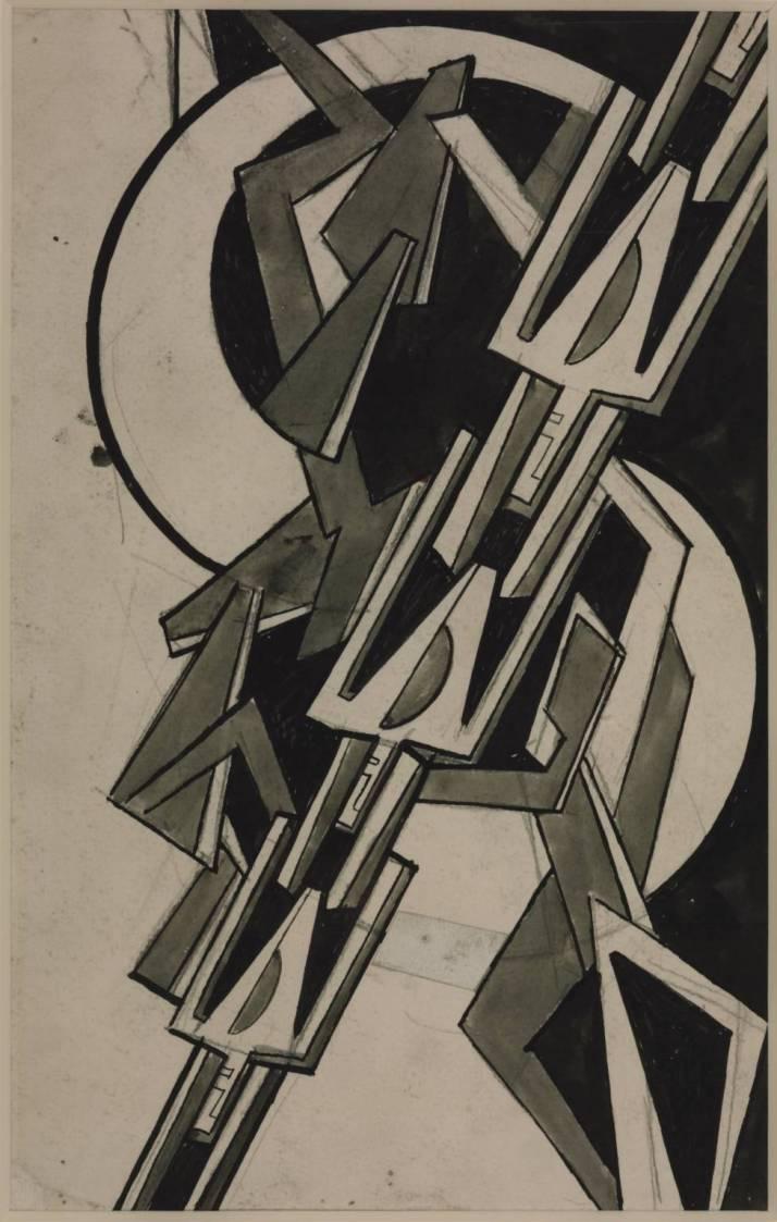 """Helen Saunders:"""" Composición monocroma  abstracta"""", 1915."""