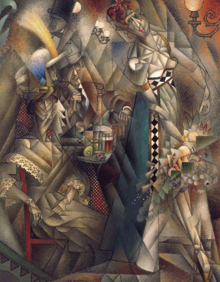 """Jean Metzinger:"""" danzante en un café"""" 1912. Óleo sobre lienxo 146x 114"""