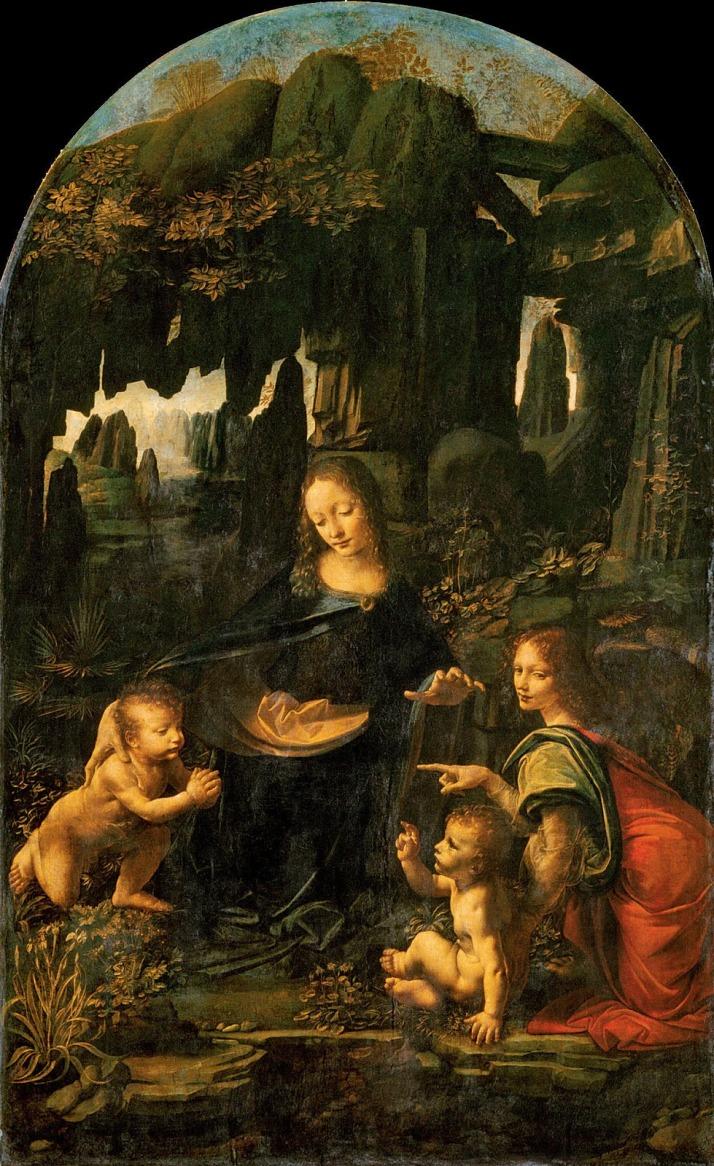 """Leonardo da Vinci: """"La Virgen de Las Rocas"""". Óleo sobre tabla (transferido a lienzo en 1806), Museo del Louvre."""