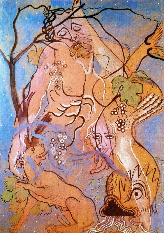"""Picabia: """"Jesús y el delfín"""", 1928. Óleo sobre tela, 105 x 75."""