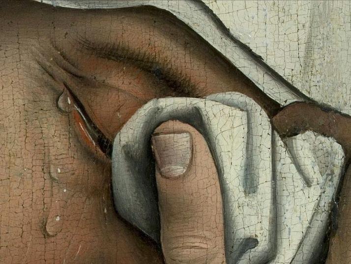 """Rogier van der Weiden: """"Descendimiento de la cruz""""(detalle) Óleo sobre tabla, c. 1443. Museo del Prado."""