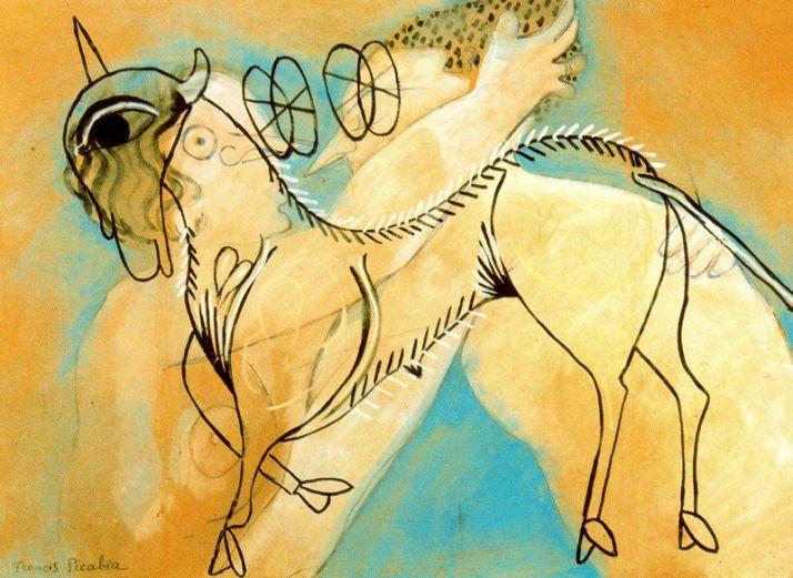 """Picabia: """" Cordero místico y beso"""". 1927. Témpera sobre cartón, 48 x 62."""