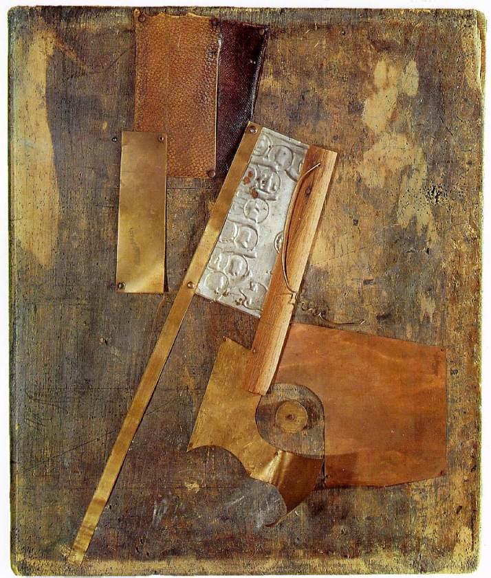"""Tatlin: """"Relieve"""", c.1914.Metal y cuero sobre madera. Colección particular"""