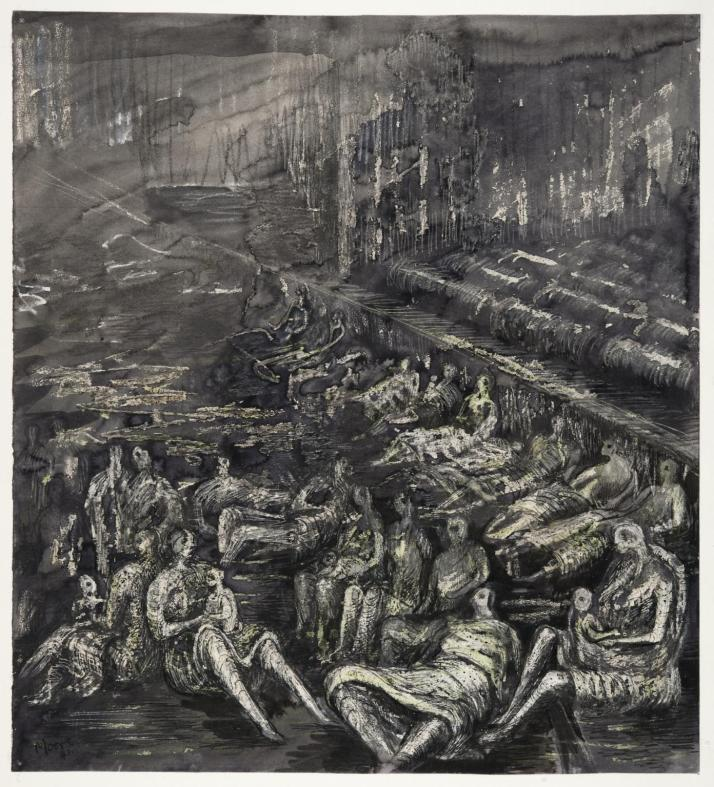 A Tilbury Shelter Scene 1941 by Henry Moore OM, CH 1898-1986