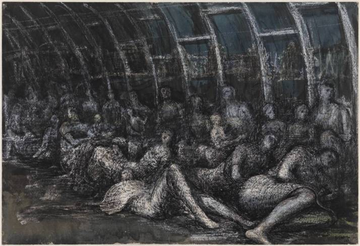 Shelterers in the Tube 1941 by Henry Moore OM, CH 1898-1986